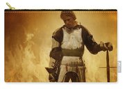 Medieval Knight On A Burning Battlefield Carry-all Pouch