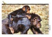 Mother Chimpanzee With Baby On Her Back Carry-all Pouch