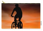 Mountain Biker At Sunset, Moab, Utah Carry-all Pouch
