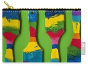 Multicolored Paint Brushes On Green Background Carry-all Pouch
