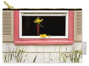 Open Window With Yellow Flower In Vase Carry-all Pouch