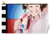 Overjoyed Nerd Woman At 3d Movie Premier Carry-all Pouch