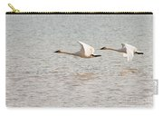 Pair Of Flying Trumpeter Swans Cygnus Buccinator Carry-all Pouch