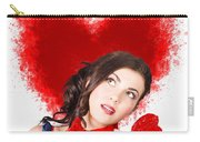 Photo Of Romantic Woman Holding Heart Shape Candy Carry-all Pouch