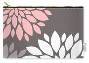 Pink Grey White Peony Flowers Carry-all Pouch