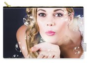 Playful Bride Blowing Bubbles At Wedding Reception Carry-all Pouch