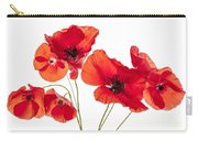 Poppy Flowers On White Carry-all Pouch