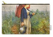 Portrait Of A Woman With Umbrella Gathering Water Carry-all Pouch
