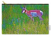 Pronghorn Among Wildflowers In Custer State Park-south Dakota Carry-all Pouch