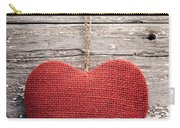 Red Burlap Heart On Vintage Table Carry-all Pouch