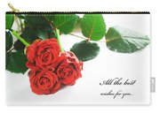 Red Fresh Roses On White Carry-all Pouch