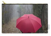 Red Umbrella In The Forest Carry-all Pouch