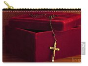 Red Velvet Box With Cross And Rosary Carry-all Pouch