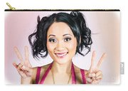 Retro Asian Girl Gesturing Peace Love And Hope Carry-all Pouch