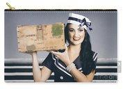 Retro Maritime Portrait. Woman In Sailor Fashion Carry-all Pouch