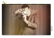 Retro Photographer Man Taking Photo With Camera Carry-all Pouch