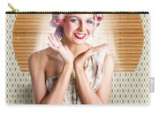 Retro Woman At Beauty Salon Getting New Hair Style Carry-all Pouch