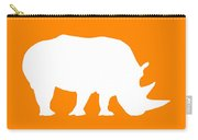 Rhino In Orange And White Carry-all Pouch