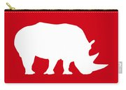 Rhino In Red And White Carry-all Pouch