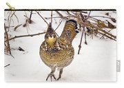 Ruffed Grouse Walking On Snow - Horizontal Carry-all Pouch