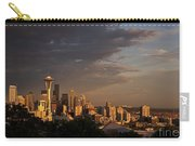 Seattle Skyline With Space Needle And Stormy Weather With Mount  Carry-all Pouch