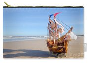 Ship Model On Summer Sunny Beach Carry-all Pouch by Michal Bednarek