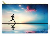 Silhouette Of Man Running At Sunset Carry-all Pouch by Michal Bednarek