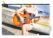Smiling Girl Strumming Guitar At Tropical Beach Carry-all Pouch
