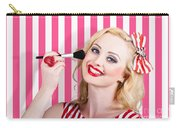 Smiling Makeup Girl Using Cosmetic Powder Brush Carry-all Pouch