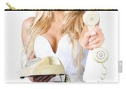 Smiling Woman With Retro Telephone Carry-all Pouch