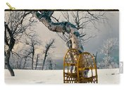 Snowshoes Leaning Against Birch Tree Snowscape Carry-all Pouch