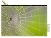 Spider Web With Dew Drops With Spider On Web Carry-all Pouch