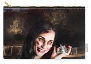 Spooky Girl With Silver Service Bell In Graveyard Carry-all Pouch