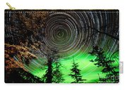 Star Trails And Northern Lights In Sky Over Taiga Carry-all Pouch