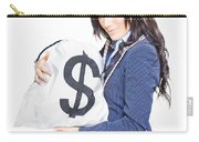 Successful Business Woman Holding Bags Of Money Carry-all Pouch