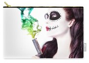 Sugar Skull Girl Blowing On Smoking Gun Carry-all Pouch