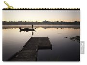 Sunrise In Fog Lake Cassidy With Fisherman In Small Fishing Boat Carry-all Pouch