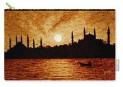 Sunset Over Istanbul Original Coffee Painting Carry-all Pouch