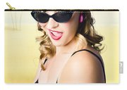Surprised Pinup Girl On Tropical Beach Background Carry-all Pouch