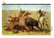 The Buffalo Hunt Carry-all Pouch by Frederic Remington