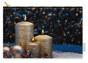 Three Gold Candles In Snow  Carry-all Pouch
