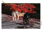 Timber Wolves Under  A Red Maple Tree Carry-all Pouch