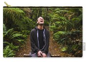 Travel Man Laughing In Tasmania Rainforest Carry-all Pouch