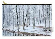 Tree Line Reflections In Lake During Winter Snow Storm Carry-all Pouch