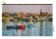 Two Lobster Boats On Marblehead Harbor With A Red Sky Carry-all Pouch