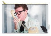 Unhappy Nerd Businessman Yelling Down Retro Phone Carry-all Pouch