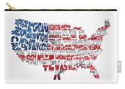 United States Typographic Map Flag Carry-all Pouch