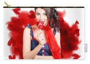 Valentines Day Woman Eating Heart Candy Carry-all Pouch