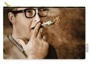 Vintage Business Man Smoking Money In Success Carry-all Pouch