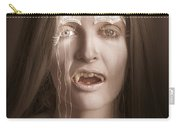 Vintage Halloween Portrait. Gothic Vampire Girl Carry-all Pouch